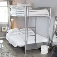 Duro Wesley Twin Over Futon Bunk Bed Silver Hayneedle - Futon bunk bed with mattresses