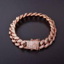 copper link bracelet images 14mm men zircon curb cuban link bracelet hip hop jewelry gold jpg