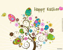 easter egg trees background with trees clipart