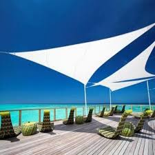 Mayfair Home And Decor by Sky Line Triangle Sail Shade Parasol Large Natural 19502