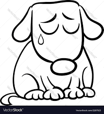 sad dog cartoon coloring page royalty free vector image