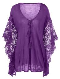 purple blouses 2018 plus size butterfly sleeve crochet trim blouse lace tops