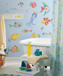 bathroom ideas nautical bathroom decor for kids with sea creature nautical bathroom decor for kids with sea creature painted wall and freestanding bathtub also blue motifed shower curtain