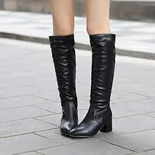 womens knee high boots nz s shoes nz pointed toe chunky heel knee high boots more