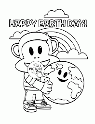 happy monkey and earth earth day coloring page for kids
