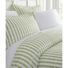 ienjoy bedding sage stripe chevron three piece duvet cover set