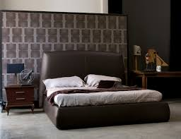 l u0027officina bold modern italian designer upholstered brown leather bed