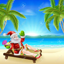 christmas illustration of summer santa relaxing in a sun lounger