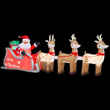 Home Depot Inflatable Christmas Decorations 16 Ft Colossal Inflatable Lighted Santa In Sleigh With Reindee