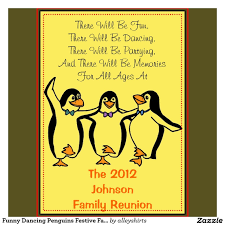 Family Reunion Invitation Cards Funny Dancing Penguins Festive Family Reunion Paper Invitation
