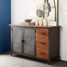 buy indian hub evoke iron and wooden jali 3 drawer sideboard