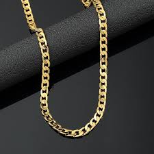 golden chain necklace men images Gold chain necklace mens 18k yellow gold plated 24in cuban chain jpg