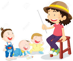 illustration of kids with teacher royalty free cliparts vectors