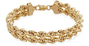 gold chain rope bracelet images Lyst macy 39 s chain double rope bracelet in 14k gold in metallic jpeg