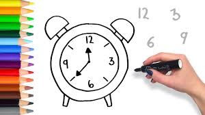 learn to draw counting clock teach drawing for kids and toddlers