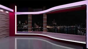 Green Tv by News Tv Studio Set 194 Virtual Green Screen Background Loop Stock