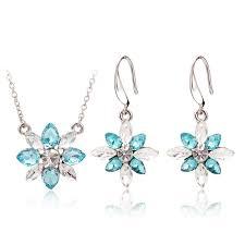 mr t earrings bridal snowflake pendant jewelry sets necklace earrings mr