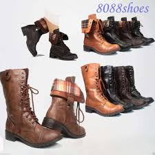 womens boots heels soda lace up low heel toe foldable combat mid calf