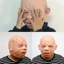 Realistic Halloween Costume Crying Baby Fat Realistic Face Mask Fancy Dress Costume