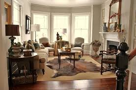 cowhide rug living room ideas brown cowhide rug for comfy living room design for small apartment