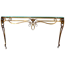 Iron Sofa Table by Wrought Iron Gilded Console Table With Glass Top At 1stdibs