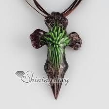 glass necklace pendants images Cross flower inside glitter black base murano glass pendants for jpg