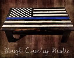 deluxe home defense coffee table thin blue line american flag