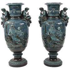 decorative urns pair of monumental blue majolica decorative urns for sale