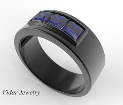 men in black wedding band mens wedding band unique black gold ring with princess cut blue