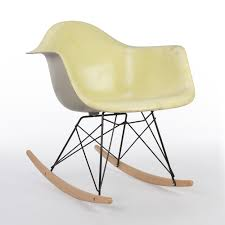 Grey Yellow Chair Original Eames Herman Miller Yellow With Grey Back Rar Rocking Arm