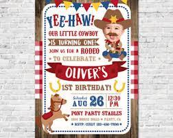 cowboy invitation etsy