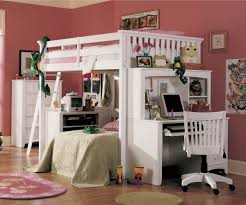 Bedroom  White Stained Wodoen Twin Loft Bunk Bed With Dresser And - Wood bunk beds with desk and dresser