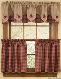 Country Porch Curtains Wine Embroidered Lined Point Curtain Valance 72 X 16