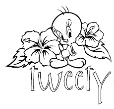 bird coloring page tweety bird coloring pages with hibiscus flower coloringstar