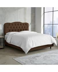 great deal on skyline furniture tufted bed in velvet chocolate