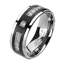 stainless steel wedding bands his hers black titanium 9 czs matching band women x style