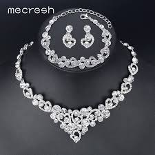 bridal jewelry mecresh heart wedding bridal jewelry sets silver color