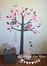 stickers arbre chambre bébé stickers arbre poudré fraise fuchsia framboise nichoir