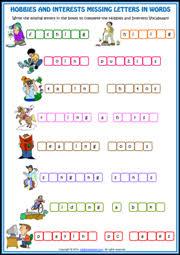 printable missing letters quiz hobbies esl printable worksheets and exercises
