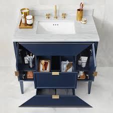 navy vanity 36 amora bathroom vanity set in navy with natural carrara marble top