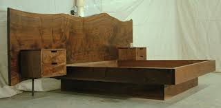 walnut 13ft headboard king platform bed and floating night stands