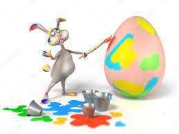 cartoon easter bunny as abstract artist is painting on a egg on