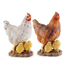 2 large realistic resin hen chicken n garden ornaments