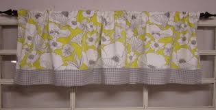 Yellow Valance Curtains Kitchen Curtain Yellow Valance Etsy Within Yellow And Grey