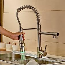 deck mounted led change kitchen faucet dual spouts mixer tap deck