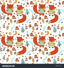 childrens pattern foxes seamless fabric design stock vector