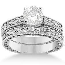 carved engagement rings carved floral wedding set engagement ring band platinum allurez