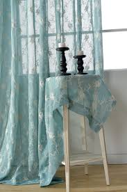 light blue voile tulle sheer curtains flower embroidered