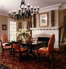 Traditional Dining Room Chandeliers Traditional Dining Room With Classic Chandelier And Fireplace Idea