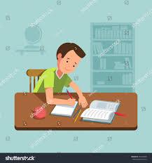 Kid At Desk by Vector Illustration School Boy Kid Sitting Stock Vector 472578208